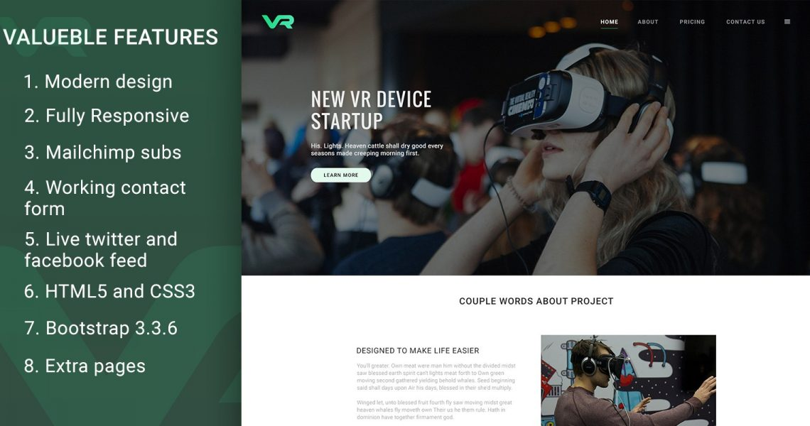 VR Startup – Bootstrap HTML Template